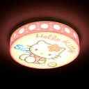 Third Gear/White Lighting Ceiling Lamp Cartoon Acrylic LED Flush Mount Light with Kitty for Girl Bedroom