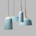 Nordic Style Blue Pendant Light with Shade 1 Bulb Aluminum Pendant Lamp for Restaurant Office
