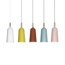 Candle Colored Bell Suspension Light One Bulb Nordic Stylish Metal Hanging Light for Shop Cafe