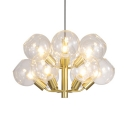 Modern Orb LED Pendant Light Twelve Lights Clear Open Glass Chandelier in Gold for Living Room