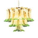 Creative Peacock Shape Pendant Lamp Art Glass Green Chandelier for Living Room Restaurant