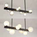 Contemporary Globe & Linear Island Light Clear/Cream Glass 8 Bulbs Black Island Lamp for Bedroom