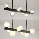 Contemporary Globe & Linear Island Light Clear/Cream Glass 8 Bulbs Black Island Lamp for Bedroom