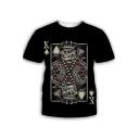 Unique Funny Skull Poker Card Printed Black Short Sleeve T-Shirt