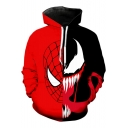 Cool Black and Red Colorblock Pattern Long Sleeve Casual Sport Hoodie