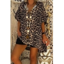 Womens New Stylish Leopard Pattern V-Neck Short Sleeve High Low Longline Casual Tee