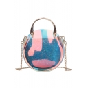 New Trendy Laser Transparent Sequin Round Crossbody Handbag with Chain Strap 18*18*8.5 CM