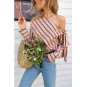Womens Fashion Striped Printed Cold Shoulder Bow-Tied Long Sleeve Casual Blouse