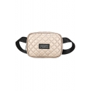 Trendy Letter PINK Patchwork Diamond Check Quilted Crossbody Belt Bag 20*8*14 CM