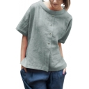 Summer Round Neck Short Sleeve Pocket Patched Button Down Light Green Linen Blouse Top