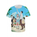 Fahsion 3D Comic Character Pattern Basic Round Neck Short Sleeve Blue T-Shirt