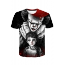 Popular Clown 3D Figure Printed Round Neck Short Sleeve T-Shirt