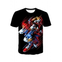 Summer Cool Cartoon Comic Character Printed Round Neck Short Sleeve Black T-Shirt
