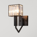 Single Light Rectangle Wall Light with Clear Crystal American Rustic Wall Lamp in Black for Stair