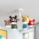 Nordic Style White Chandelier with Bear 3/6 Lights Metal Ceiling Light for Nursing Room