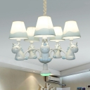 Blue/Pink Sleep Unicorn Chandelier 5 Lights Modern Style Metal Pendant Light for Child Bedroom