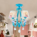 4 Heads Princess Pendant Light with Crystal Cartoon Metal Chandelier in Blue for Child Bedroom