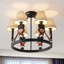 Resin Solider Hanging Light with Plaid/White Shade 6 Lights Chandelier in Black for Child Bedroom