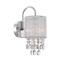 Metal Drum Shade Wall Light 1 Head Contemporary Wall Light with Crystal Ball in Chrome for Bedroom