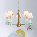 Resin Pony Pendant Light Nursing Room 3/5 Heads Lovely Modern Chandelier in Blue/Pink