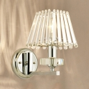 Glittering Crystal Craftsman Wall Light Bedroom Single Light Contemporary Sconce in Chrome