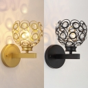 Etched Globe Bedside Wall Light with Crystal Bead 1 Head Postmodern Wall Lamp in Black/Gold