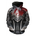 Unique Armour Dragon 3D Pattern Long Sleeve Casual Loose Pullover Black Hoodie
