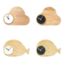 Cartoon Cloud/Whale LED Wall Light with Black/White Clock Wood Sconce Light in Warm/White for Study Room