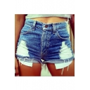 Womens Hot Popular Exposed Pocket Distressed Ripped Skinny Fit Denim Shorts