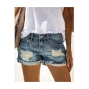 Summer Fashion Street Style Distressed Ripped Rolled Hem Blue Denim Shorts