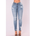 Women's Trendy Light Blue Ripped Deatil Destroyed Skinny Fit Jeans