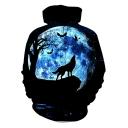 3D Moon Wolf Pattern Long Sleeve Black Casual Loose Pullover Hoodie