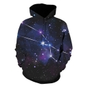 3D Starry Galaxy Printed Long Sleeve Casual Loose Pullover Hoodie
