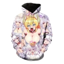 Popular Ahegao Comic Anime Girl Pattern Long Sleeve Unisex Pullover Hoodie