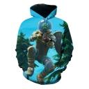 Hot Popular Game Comic Figure 3D Printed Blue Long Sleeve Unisex Hoodie