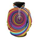 Fancy Colorful Stripe Whirlpool Printed Long Sleeve Sport Casual Pullover Hoodie