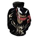 Trendy Cool 3D Pattern Casual Loose Black Pullover Hoodie