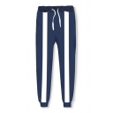 New Trendy Comic 3D Striped Printed Blue Drawstring Sweatpants