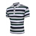 Mens Trendy Green Striped Printed Short Sleeve Fake Pocket Patched Slim Fit Polo Shirt