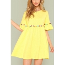 Summer Womens Fashion Pompom Embellished Round Neck Flared Sleeve Yellow Mini Smock Dress