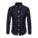 Mens Stylish Chic Simple Embroidery Collar Button Front Long Sleeve Slim Shirt