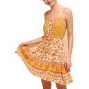 Summer Stylish Yellow Floral Printed Button Front Drawstring Waist Mini A-Line Cami Dress