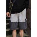Simple Fashion Color Block Double Flap Pocket Side Drawstring Hem Design Grey Casual Cargo Shorts