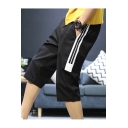 Fashion Classic Contrast Stripe Patched Side Drawstring Waist Casual Sport Shorts