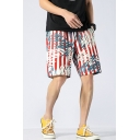Summer Fashion Contrast Stripe Leaves Printed Drawstring Waist Quick-Dry Swim Trunks