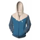 Trendy Fashion Comic Color Block Long Sleeve Zip Up Sport Loose Drawstring Hoodie