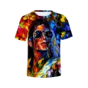 Unique Cool Colorful Oil Painting Figure Printed Round Neck Short Sleeve T-Shirt