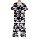 Funny Cartoon Skull Pattern Short Sleeve Baseball Shirt with Casual Loose Shorts Two-Piece Set