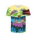 Popular The Lion King Cartoon Animal Pattern Round Neck Short Sleeve Sport Loose Tee