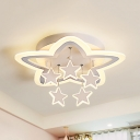 Child Bedroom Star LED Flush Ceiling Light Acrylic Creative Warm/White Ceiling Lamp in White Finish